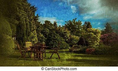 Bord, trädgård engelsk. Stol, bord, trädgård, uteplats ...