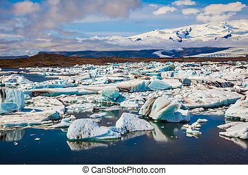 tração, -, gelo, lagoa, jokulsarlon