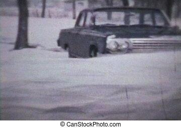 trações, inverno, (1963, -, neve, vintage)
