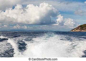 traço, água oceano, indianas, partindo, bote