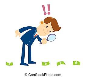 traço, dinheiro, olhar, homem negócios, através, investigar, magnifier