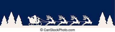 traîneau, bleu, renne, silhouette, santa