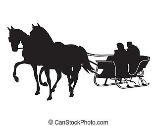 traîneau, cheval