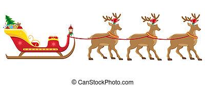 traîneau, christmassanta, renne