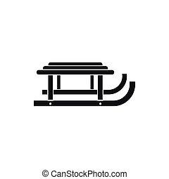 traîneau, icône, style, noir, simple
