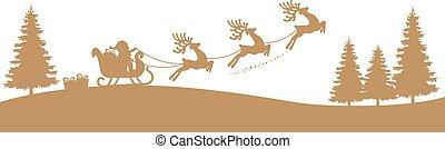 traîneau, renne, silhouette, santa, or