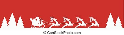 traîneau, renne, silhouette, santa, rouges