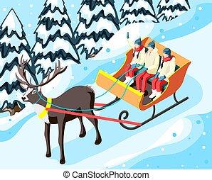 traîneau, vacances famille, hiver, illustration