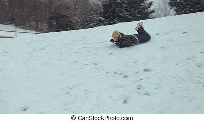 traîneaux, garçon, hiver, équitation, neige