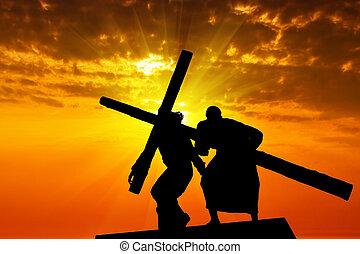 traîner, a, bois, croix