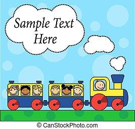 tra, enfants, locomotive, dessin animé
