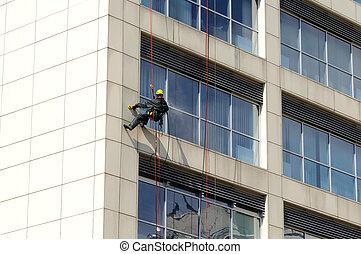 trabaja, fachada, steeplejack, limpieza