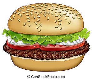 trabaja, hamburguesa