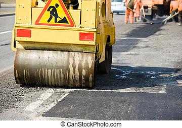 trabaja, pavimentar, asfalto, compactador