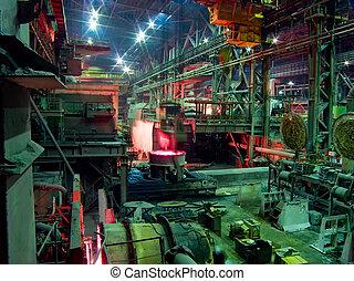 trabaja, proceso, industrial, metallurgical, producción