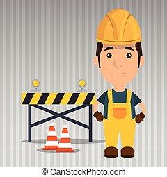 trabajador, advertencia, seguridad, herramienta