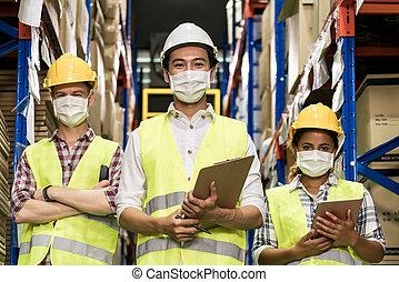 trabajador, almacén, cara, interracial, equipo, máscara