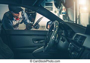 trabajador, automóvil, inspección, servicio