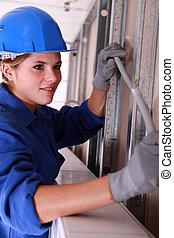 trabajador, cableado, eléctrico, instalación