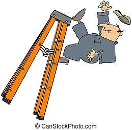 trabajador, caer, un, stepladder