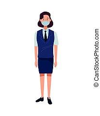 trabajador, cara, covid19, máscara, recepcionista, hotel, hembra, utilizar