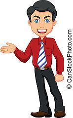 trabajador, caricatura, oficina, presentación
