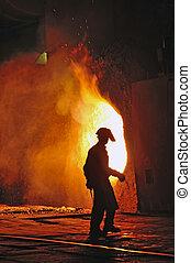 trabajador, con, caliente, acero