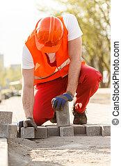 trabajador, con, cobbles