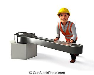 trabajador, con, llave inglesa