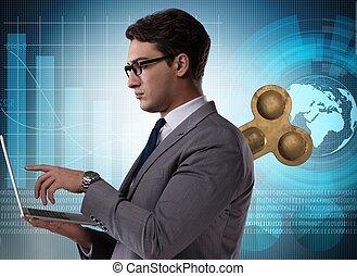 trabajador, concepto, hombre de negocios, llave