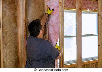 trabajador, construcción, aislar, capa, thermally, debajo, lana, casa, vidrio