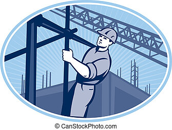 trabajador construcción, andamio, retro