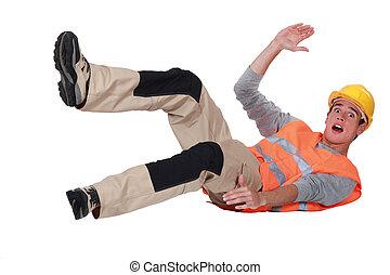 trabajador construcción, caer, encima
