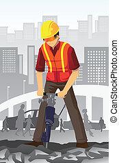 trabajador construcción, camino