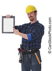 trabajador construcción, con, documentos