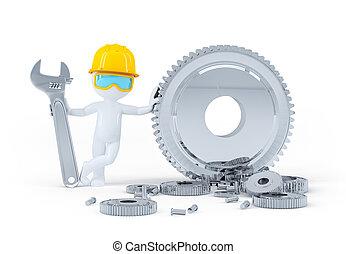 trabajador construcción, con, llave inglesa, y, engranajes