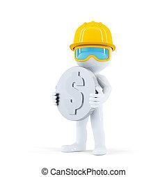 trabajador construcción, con, moneda
