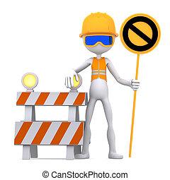 trabajador construcción, con, parar la muestra