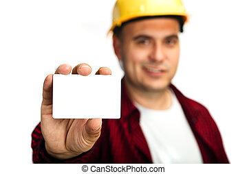 trabajador construcción, con, tarjeta comercial