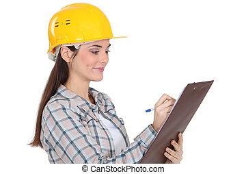 trabajador construcción, con, un, portapapeles