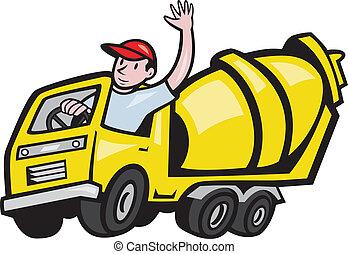 trabajador construcción, conductor, revolvedora, camión