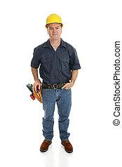 trabajador construcción, cuerpo lleno