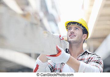 trabajador, construcción, duro, sitio