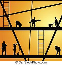 trabajador construcción, en el trabajo, vector, ilustración