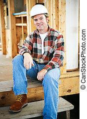 trabajador construcción, en, interrupción