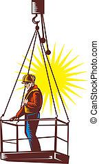 trabajador construcción, en, plataforma, ser, hoisted, arriba, hecho adentro, retro, woodcut, style.