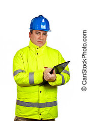 trabajador construcción, escritura