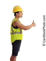 trabajador construcción, factótum, pulgares arriba