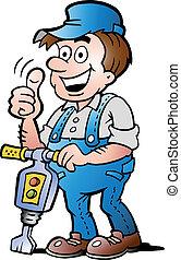 trabajador construcción, feliz