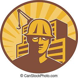 trabajador construcción, grúa de edificio, retro